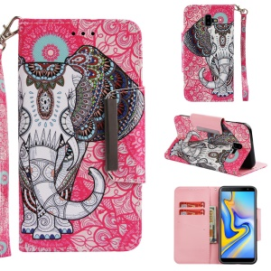 Case for Samsung Galaxy J6 Plus / J6 Prime Pattern Printing Stand Leather Flip Case - Tribal Elephant