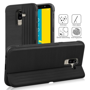 PC TPU Dual Layer Hybrid Cover with Kickstand and Card Slot for Samsung Galaxy J8 (2018) / Galaxy On8 in India - Black