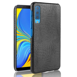 [Crocodile Texture] PU Leather Coated PC Back Case for Samsung Galaxy A7 (2018) - Black