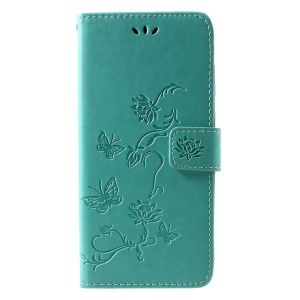 Imprint Butterfly Flower Wallet Stand Leather Cellphone Case for Samsung Galaxy A9 (2018)/A9 Star Pro/A9s - Green