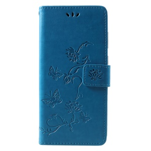 Imprint Butterfly Flower Wallet Stand Leather Mobile Case for Samsung Galaxy A9 (2018)/A9 Star Pro/A9s - Blue