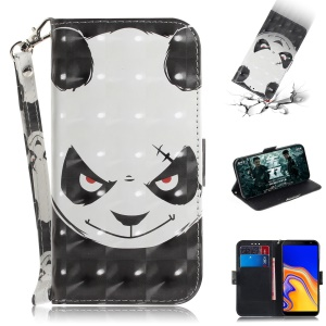 Light Spot Decor Patterned Wallet Stand PU Leather Phone Case for Samsung Galaxy J4+ - Angry Panda