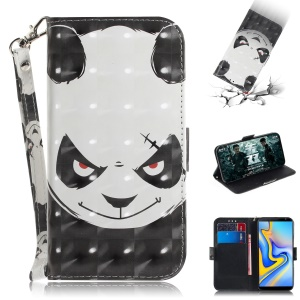 Light Spot Decor Patterned Wallet Stand PU Leather Phone Case for Samsung Galaxy J6+ - Angry Panda
