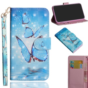 Pattern Printing Light Spot Decor Wallet Stand Leather Flip Cover for Samsung Galaxy A7 (2018) - Blue Butterfly