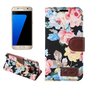 Flower Cloth Skin Faux Leather Case for Samsung Galaxy S7 G930 - Black