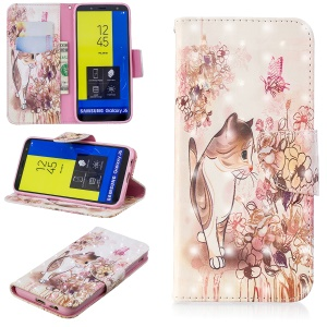 Light Spot Decor Pattern Printing Wallet Stand Leather Flip Cover for Samsung Galaxy J6 (2018) - Cat