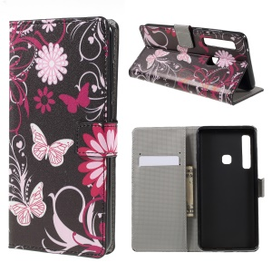 Patterned Wallet Leather Case for Samsung Galaxy A9 (2018) / A9 Star Pro / A9s - Butterfly Flower