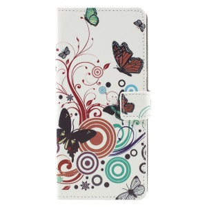 Patterned Wallet Leather Cover for Samsung Galaxy A9 (2018) / A9 Star Pro / A9s - Butterfly Circles