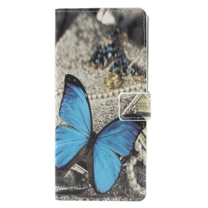 Patterned Wallet Leather Mobile Cover for Samsung Galaxy A9 (2018) / A9 Star Pro / A9s - Blue Butterfly