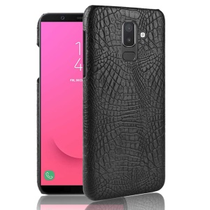 Crocodile Texture PU Leather Coated PC Phone Cover for Samsung Galaxy J8 (2018) / Galaxy On8 in India - Black
