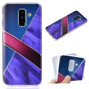 Splicing Marble Pattern and Leather Texture TPU Phone Case for Samsung Galaxy A6+ (2018) - Dark Blue