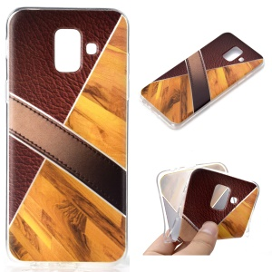 Splicing Marble Pattern and Leather Texture TPU Mobile Phone Case for Samsung Galaxy A6 (2018) - Gold