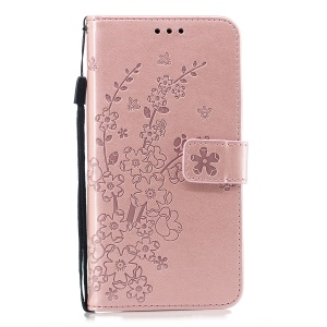 Imprinted Plum Blossom PU Leather Wallet Case for Samsung Galaxy J6 Plus - Rose Gold