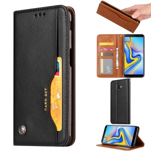 PU Leather Auto-absorbed Stand Wallet Phone Case for Samsung Galaxy J6+ / J6 Prime - Black