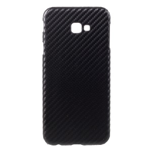 PU Leather Coated PC Cover for Samsung Galaxy J4 Plus / J4 Prime - Black Carbon Fiber Texture