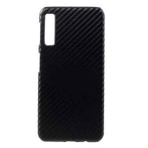 PU Leather Coated PC Phone Cover for Samsung Galaxy A7 (2018) - Carbon Fiber Texture