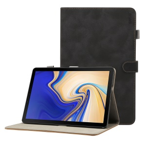 ENKAY for Samsung Galaxy Tab S4 10.5 T830 / T835 Matte PU Leather Stand Smart Casing Shell - Black
