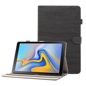 ENKAY for Samsung Galaxy Tab A 10.5 (2018) T590 / T595 Wood Texture PU Leather Stand Smart Casing Shell - Dark Grey
