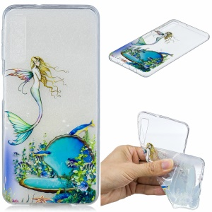 Pattern Printing Embossed TPU Protective Shell for Samsung Galaxy A7 (2018) - Mermaid