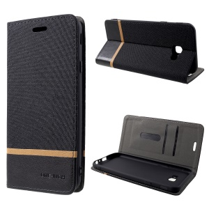 Cloth Texture Splicing PU Leather Case with Stand for Samsung Galaxy J4+ / J4 Prime - Black