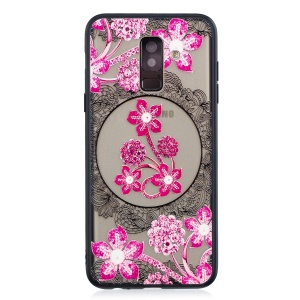 Lace Embossment Pattern PC TPU Combo Cover for Samsung Galaxy A6 Plus (2018) - Pink Flower