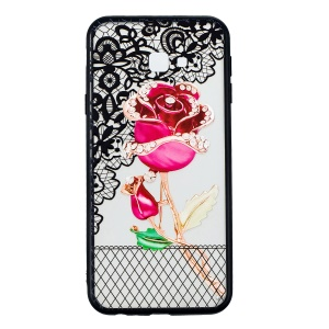 Embossment Lace Flower Plastic TPU Hybrid Mobile Phone Case for Samsung Galaxy J4 Plus - Rose