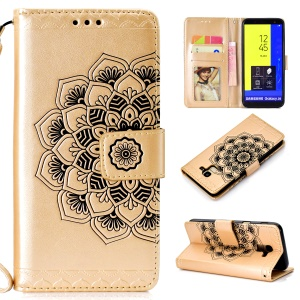 Imprinted Mandala Pattern Leather Phone Cover with Stand for Samsung Galaxy J6 (2018) - Gold