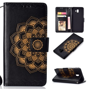 For Samsung Galaxy J6 Plus / J6 Prime Imprinted Mandala Pattern PU Leather Cell Phone Case - Black