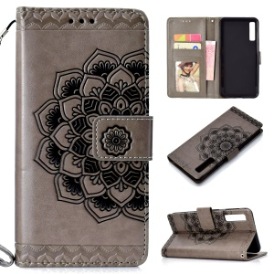 Imprinted Flower Pattern Leather Wallet Case for Samsung Galaxy A7 (2018) - Grey
