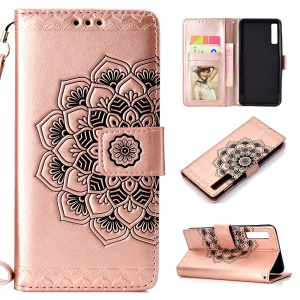 Imprinted Flower Pattern Leather Wallet Phone Case for Samsung Galaxy A7 (2018) - Rose Gold