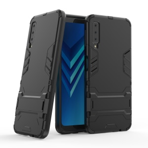 Cool Guard PC TPU Combo Casing for Samsung Galaxy A7 (2018) with Kickstand - Black
