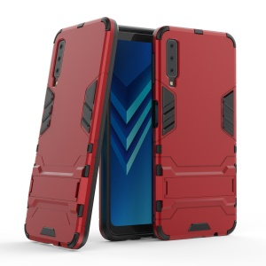 Cool Guard PC TPU Combo Protection Shell for Samsung Galaxy A7 (2018) with Kickstand - Red