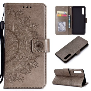Imprinted Mandala Pattern Wallet Leather Mobile Case for Samsung Galaxy A7 (2018) A750 - Grey