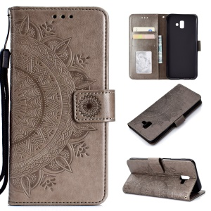 Imprinted Mandala Pattern PU Leather Phone Case for Samsung Galaxy J6 Plus / J6 Prime - Grey