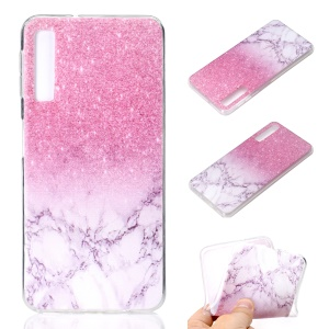 Pattern Printing Soft TPU Phone Cover for Samsung Galaxy A7 (2018) - Pink Glitter and Marble