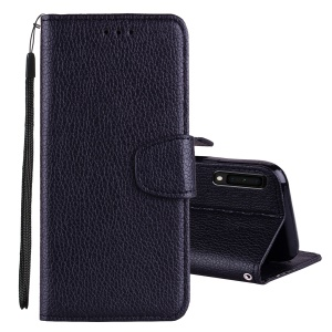 Litchi Skin Wallet Leather Stand Case for Samsung Galaxy A7 (2018) - Black