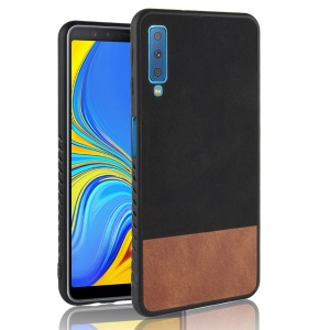 Bi-color Splicing PU Leather Coated PC + TPU Hybrid Case for Samsung Galaxy A7 (2018) - Black