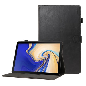 ENKAY Crazy Horse PU Leather Smart Case for Samsung Galaxy Tab S4 10.5 - Black