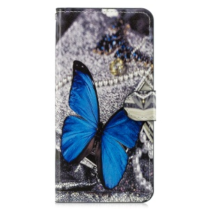Wallet Leather Cover with Stand for Samsung Galaxy A7 (2018) - Blue Butterfly