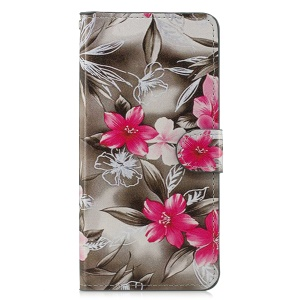 Leather Stand Cover with Card Slots for Samsung Galaxy A7 (2018) - Vivid Flowers