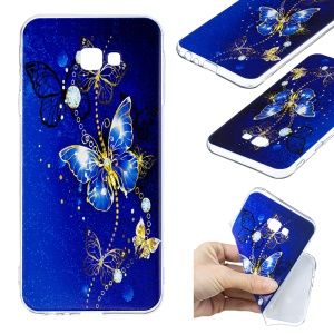 Pattern Printing TPU Cell Phone Case for Samsung Galaxy J4 Plus / J4 Prime - Blue Butterfly