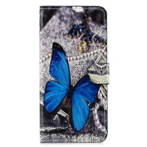 Pattern Printing Leather Magnetic Wallet Stand Folio Cellphone Shell for Samsung Galaxy J6 Plus - Blue Butterfly
