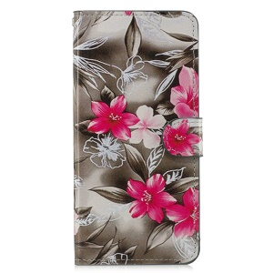 Pattern Printing Leather Magnetic Wallet Folio Cover with Stand for Samsung Galaxy J6 Plus - Red Flower