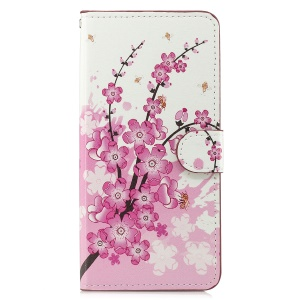 Pattern Printing Leather Magnetic Wallet Stand Folio Cell Phone Case for Samsung Galaxy J4+ - Peach Flower