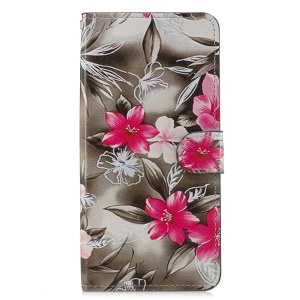 Pattern Printing Leather Magnetic Wallet Stand Folio Cell Phone Cover for Samsung Galaxy J4+ - Red Flower