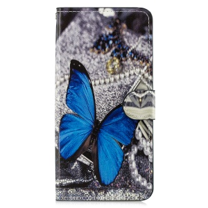 Pattern Printing Leather Magnetic Wallet Stand Protective Case for Samsung Galaxy J4 Plus - Blue Butterfly