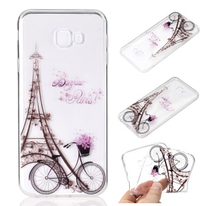 Pattern Printing TPU Soft Cover for Samsung Galaxy J4 Plus - Eiffel Tower and Bicycle
