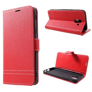 Litchi Texture Wallet Leather Stand Case for Samsung Galaxy J6 (2018) - Red
