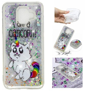 For Samsung Galaxy A6 (2018) Embossed Pattern Quicksand TPU Protection Phone Case - I Am A Caticorn