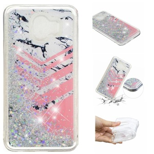 Dynamic Glitter Powder Sequins Patterned TPU Protection Case for Samsung Galaxy J4 (2018) - Marble and V Shape Pattern